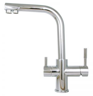 80055 - 3 Way - Chrome Duel Outlet Side Lever Mixer-0